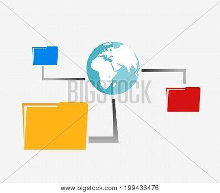 File sharing illustration. Online backup file illustration.