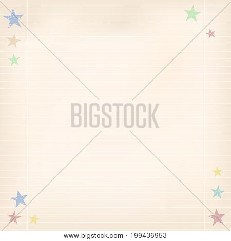 Brown paper with white stripes and colorful stars on corners. Ruled copybook sheet. Background for School