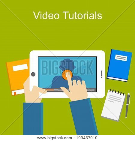 Video tutorials illustration. Video streaming. Watching video on gadget. Video player. Education Supplies