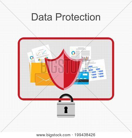 Data protection illustration . Secure data management