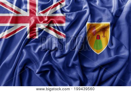 Ruffled waving Turks and Caicos Islands flag