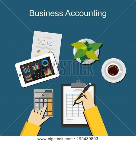 Business accounting and paperwork concept illustration. Financial accounting