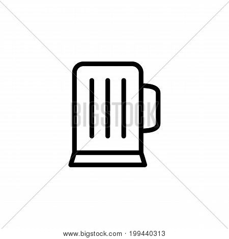 Thin Line Beer Glass Icon On White Background