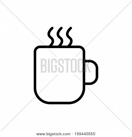 Thin Line Hot Cup Icon On White Background
