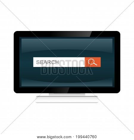 Search form interface on desktop screen illustration. Search engine. Desktop monitor