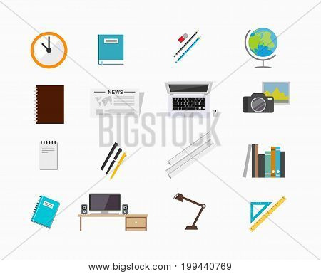 Education supplies. School supplies. Business tools. Set of icons for education tools or office tools.