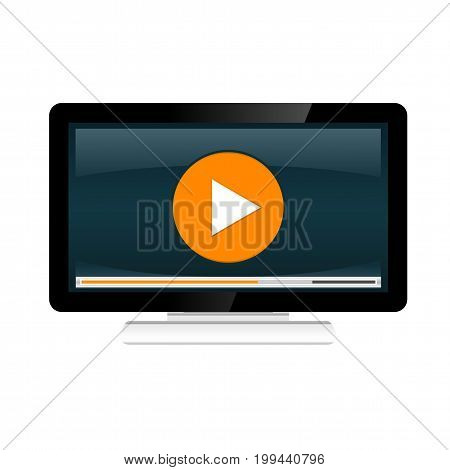Video streaming concept illustration. Watching video on desktop. Video player.