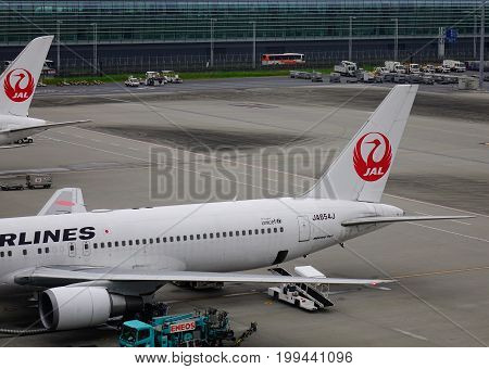 Aircrafts At Haneda Airport In Tokyo, Japan