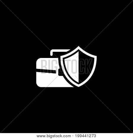 Data Protection Icon. Flat Design. Isolated Illustration. App Symbol or UI element. Safety concept with a briefcase and a shield.