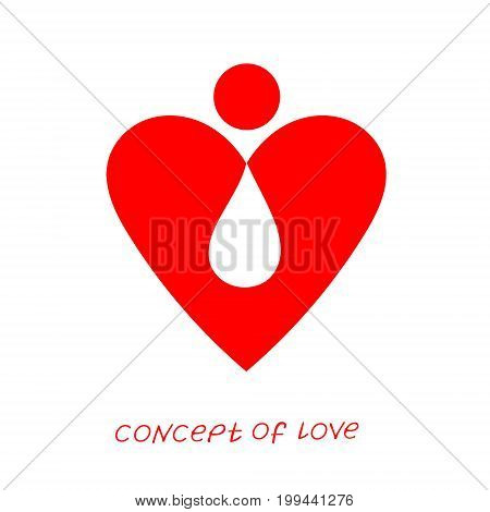 Icon of love. Vector illustration, metaphor of donation. Template for Valentine's day. Helpful element for web design and print. Editable vector with a wide range of applications.