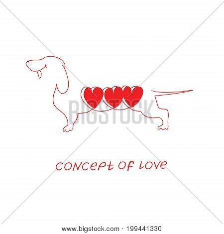 Icon of love. Vector illustration, metaphor of passion. Template for Valentine's day. Helpful element for web design and print. Editable vector with a wide range of applications.