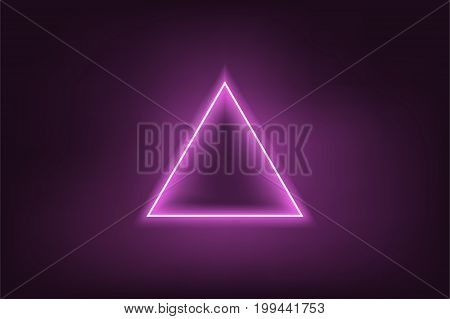 Glowing neon purple triangle on dark purple background. Mesh gradient objects. Vector illustration.