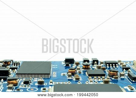 Closeup image of electronic circuit board isolate on white background. Blurred and toned image. Shallow DOF.