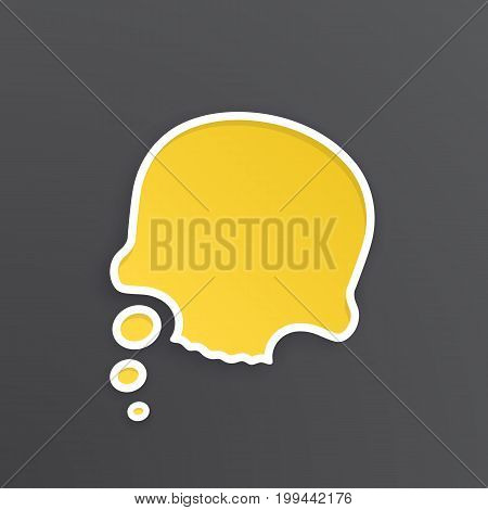 Vector illustration. Yellow comic speech bubble for thoughts at skull shape with white contour. Empty shape in flat style for chat dialogs. Isolated on black background