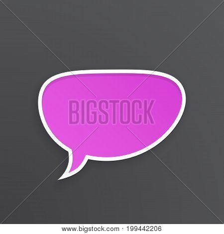 Vector illustration. Lilac comic speech bubble for talk crooked at oval shape with white contour. Empty shape in flat style for chat dialogs. Isolated on violet background