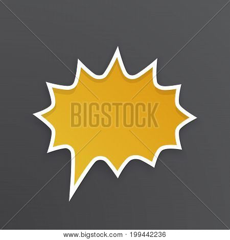 Vector illustration. Orange comic speech bubble for scream at rounded barbed shape with white contour. Empty shape in flat style for chat dialogs. Isolated on black background