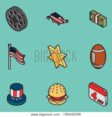 America color outline isometric icons. Vector illustration, EPS 10