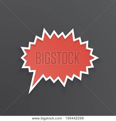 Vector illustration. Red comic speech bubble for scream at prickly shape with white contour. Empty shape in flat style for chat dialogs. Isolated on black background