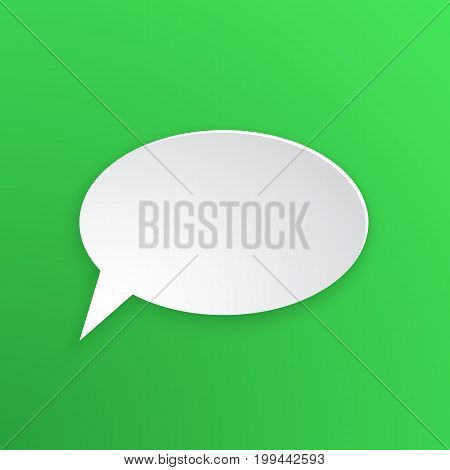 Vector illustration. Comic speech bubble for talk at oval shape in paper version. Empty shape in flat style for chat dialogs. Isolated on green background