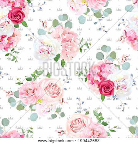 Small wedding bouquets of red and pink rose, white peony, camellia, hydrangea, blue berries and eucalyptus leaves pattern. Simple backdrop with dots and queen crowns. All elements are editable