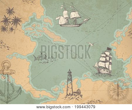 Vintage vector marine map with sailing vessels. Ancient map with ships and compass.