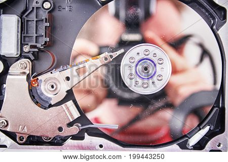 disk drive inside as nice technology background