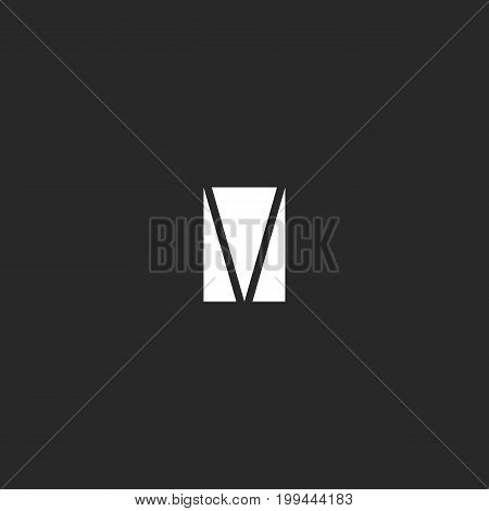 Letter M logo in a triangle shape. Simple abstract geometric form typography design element template.