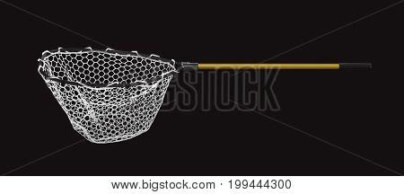 Fishing Landing Net Isolated On Black