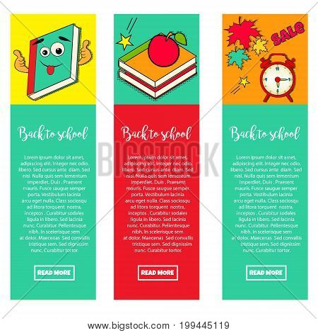 Set of bright banners BACK TO SCHOOL with elements