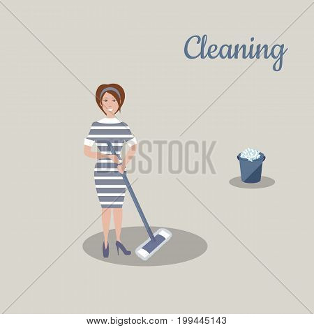Cute young woman in dark blue dress with white stripes with the tools for housekeeping: a bucket with soapy foam, MOP. Gray background. Vector illustration