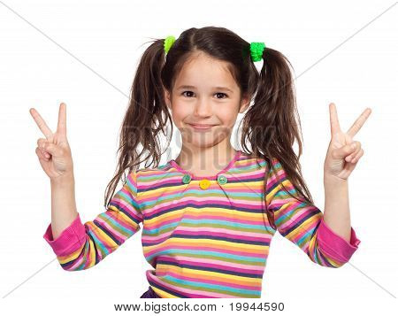 Little Girl With Victory Sign