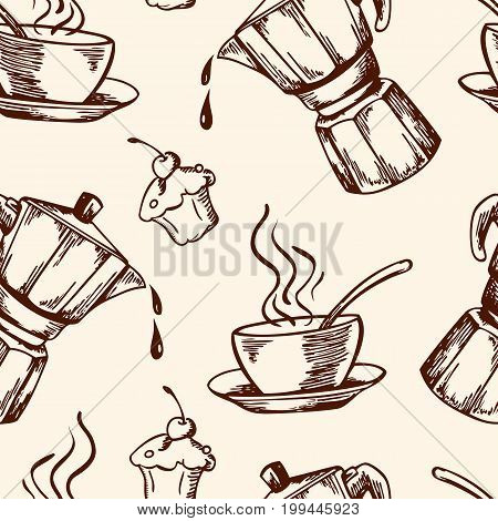 Vintage vector coffee seamless pattern with cup and coffee pot. Hand drawn illustration.