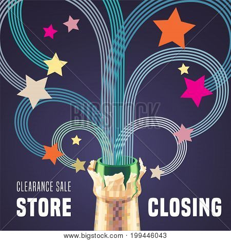 Store closing vector illustration, background with bottle of champagne and decorative swirls. Template banner for clearance sale