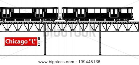 An overground high-speed subway. City ecological transport. A large number of passengers. Black and white contour image.