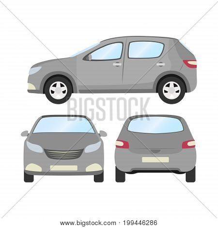 Car vector template on white background. Business hatchback isolated. grey hatchback flat style. front side back view.