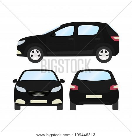 Car vector template on white background. Business hatchback isolated. black hatchback flat style. front side back view.