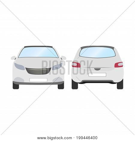 Car vector template on white background. Business hatchback isolated. white hatchback flat style.front and back view.