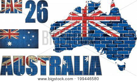 Australia map on a brick wall - Illustration,   Font with Australia flag, Australian national flag in mosaic