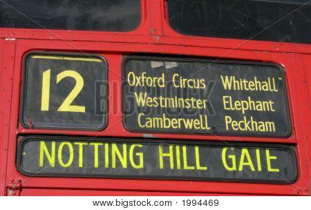 Red Bus Destination Panel