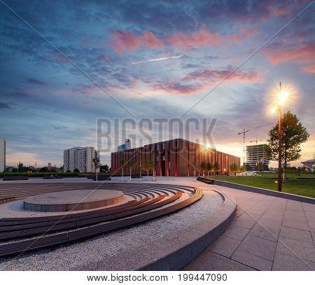 Polish National Radio Symphony Orchestra in Katowice during dramatic sunset