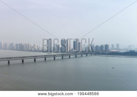 Big city. View of the megalopolis across the river