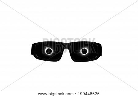 Solar Eclipse glasses with sun and moon corona reflecting in lenses