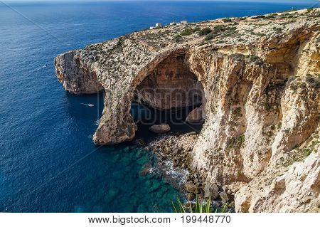 Blue Grotto limestone arc, majestic nature landmark of Malta island