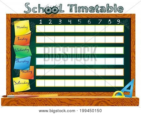 Template school timetable for students or pupils with   days of week and free spaces  for notes. Illustration includes many hand drawn elements of school supplies.