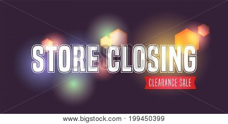 Vector illustration for store closing event. Clearance sale advertising design element, banner