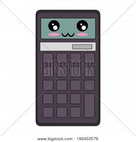Calculator math device kawaii cartoon icon vector illustration graphic design