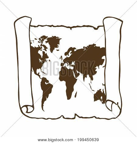 World map on old papyrus paper. Vector illustration. Sketch scroll isolated on white background. Square location.