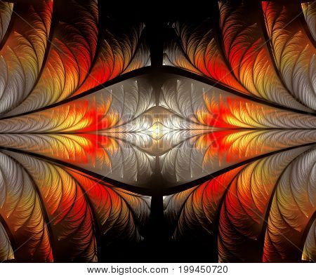 Computer generated fractal artwork with opposite fires