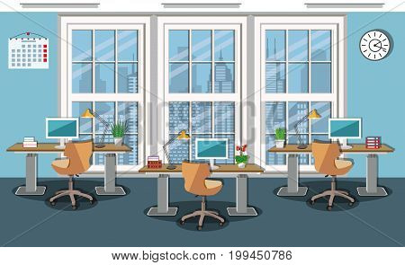 Modern office interior design with сomfortable furniture. Cozy working place -  desks, computer chairs, desk lamps, computers and large wide window. Stylish business work space. Flat style vector illustration.