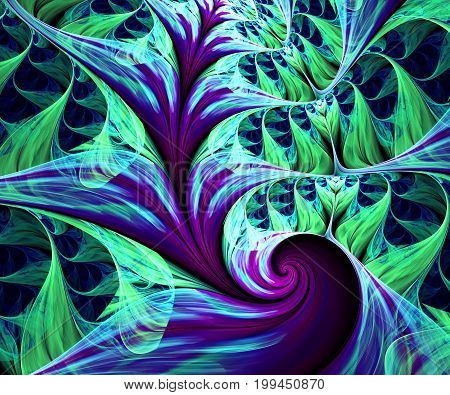 Computer generated fractal artwork with frozen flowers